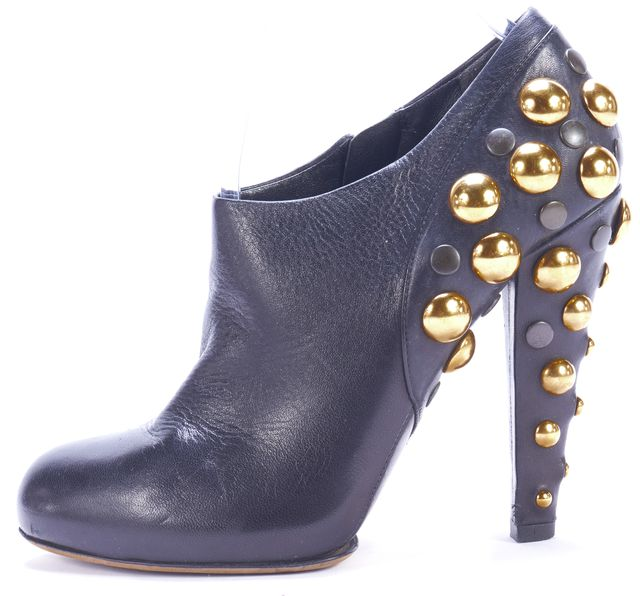 GUCCI Black Leather Babouska Style Studded Bootie Boots
