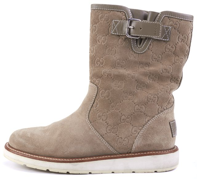 GUCCI Beige Suede Signature Ankle Boot Boots