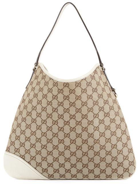 GUCCI Beige Canvas Shoulder Bag Handbag