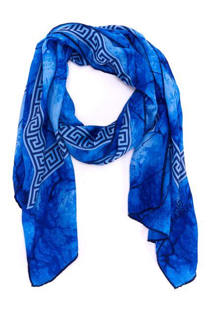 GIANNI VERSACE Blue Greek Key Print Silk Rectangle Scarf