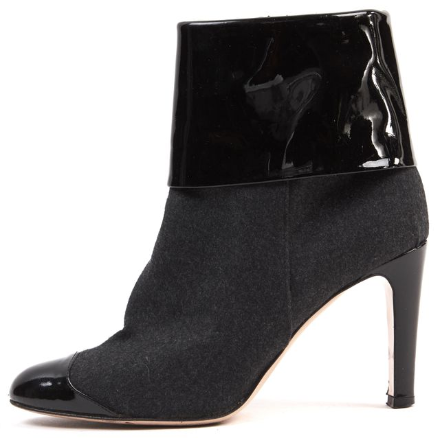 GIANVITO ROSSI Black Gray Patent Leather Wool Heeled Ankle Boots
