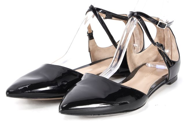 GIANVITO ROSSI Black Patent Leather Pointed Toe Slingback Flats IT 40 US 10