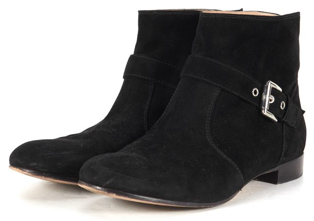 GIANVITO ROSSI Black Suede Flat Ankle Boots