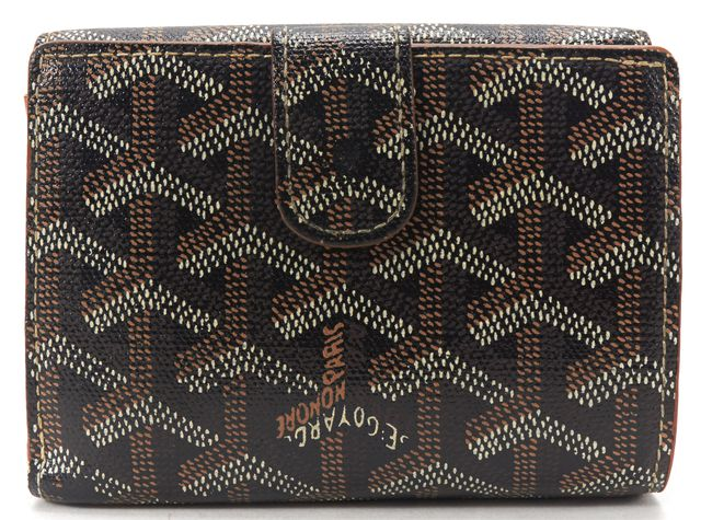 GOYARD Black Brown Chevron Coated Canvas Compact Wallet