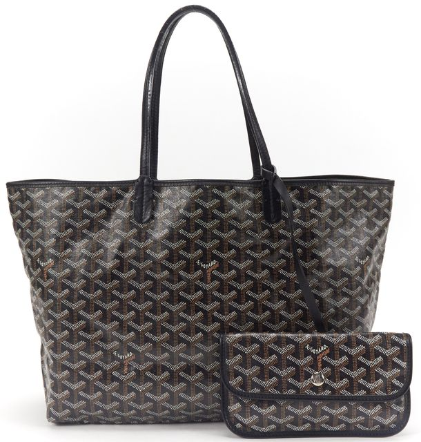 GOYARD Black Chevron Coated Canvas St Louis PM Tote Handbag