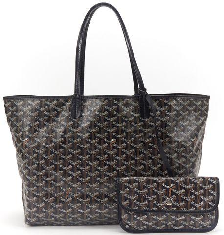 GOYARD Black Chevron Coated Canvas St Louis PM Tote Handbag