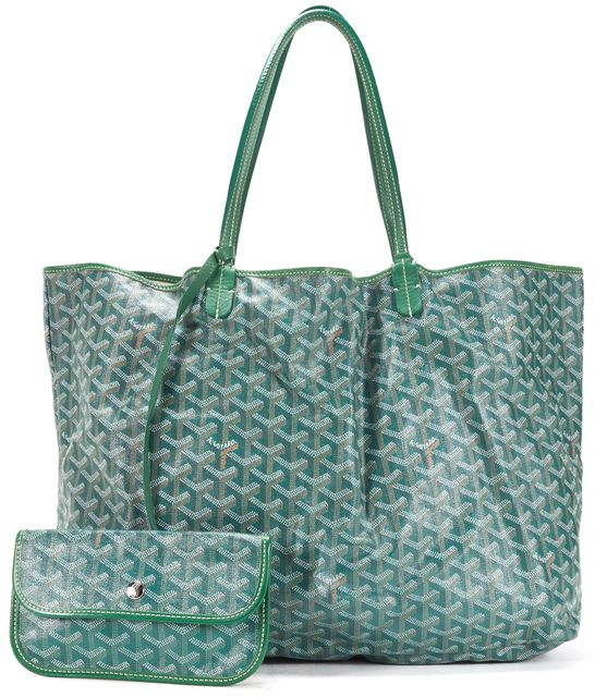 GOYARD Green Chevron Coated Canvas St. Louis GM Tote Handbag w/ Pouch