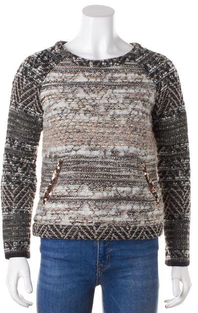 GRYPHON Gray Beige Marled Striped Crewneck Sweater