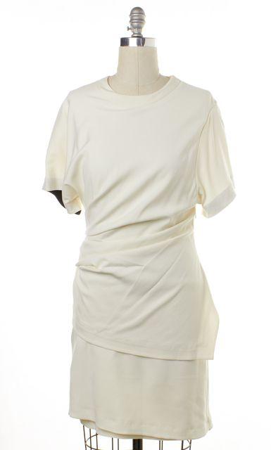 HELMUT LANG Ivory Short Sleeve Ruched Sheath Dress