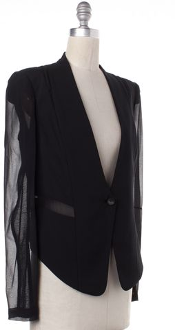 HELMUT LANG Black Wool Sheer Silk Sleeves One Button Blazer