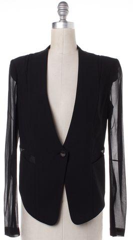 HELMUT LANG Black Wool Sheer Silk Sleeves One Button Blazer Size 6