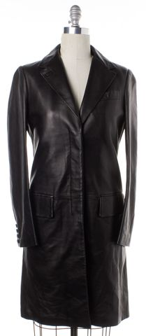 HELMUT LANG Black Leather Basic Coat Size M