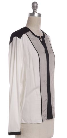 HELMUT LANG Ivory Black Colorblock Long Sleeve Blouse Top
