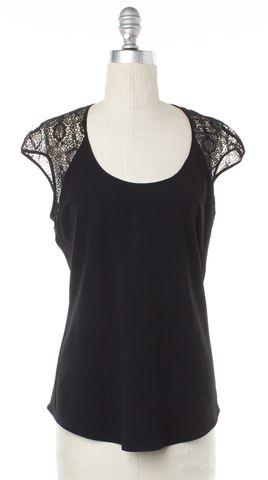 HELMUT LANG Black Semi Lace Short Sleeve Blouse Size S