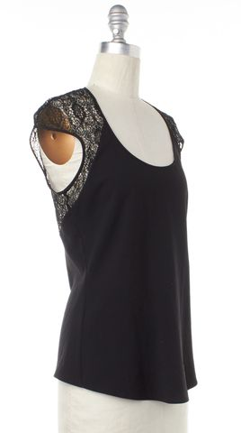 HELMUT LANG Black Semi Lace Short Sleeve Blouse