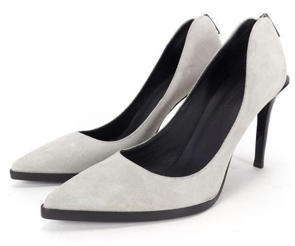 HELMUT LANG Gray Suede Zip Back Pointed Toe Pump Heels Size 38.5