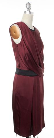 HELMUT LANG Burgundy Red Draped Sheath Dress