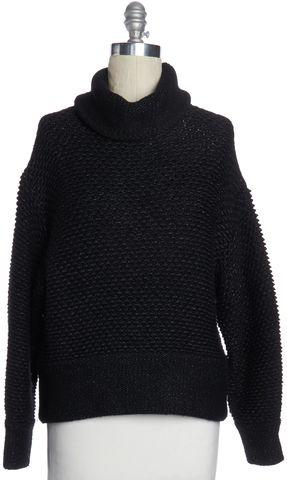 HELMUT LANG Black Gray Wool Turtleneck Sweater Size S