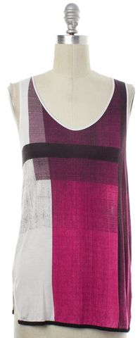 HELMUT LANG White Pink Abstract Tank Top Size P