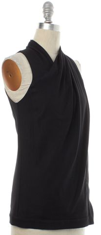 HELMUT LANG Black Draped Sleeveless Blouse Size P