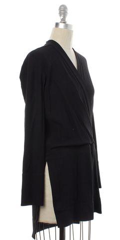 HELMUT LANG NEW Black Side Slit Wrap Blouse Size P