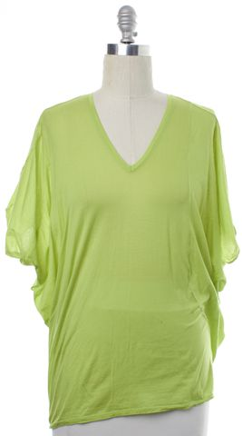 HELMUT LANG Green Basic V-Neck Tee T-Shirt Size M
