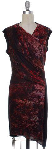 HELMUT LANG Red Black Abstract Drape Sheath Dress Size 4