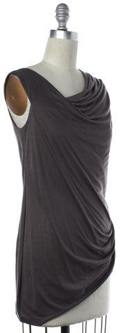 HELMUT LANG Gray Asymmetric Drape Blouse Size P