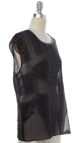HELMUT LANG Black Metallic Sheer Silk Leather Trim Sleeveless Blouse Top Size S