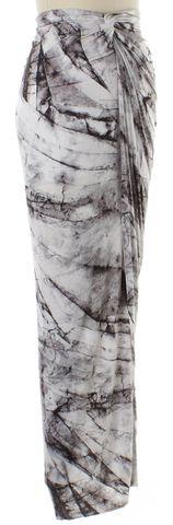 HELMUT LANG White Black Marble Print Stretch Skirt Size S