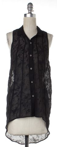 HELMUT LANG Black Sheer Lace Wool Sleeveless Tank Top Size S