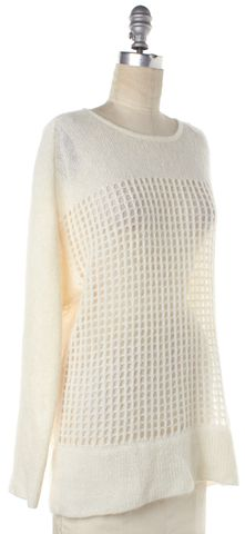 HELMUT LANG Ivory Mohair Open Knit Sweater Size S