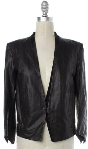 HELMUT LANG Black Lamb Leather Single Button Jacket Size 4