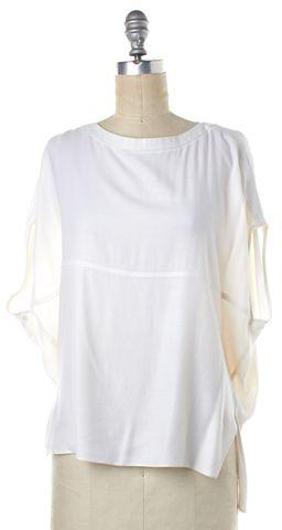 HELMUT LANG White Sheer Drop Shoulder Blouse Top Size S