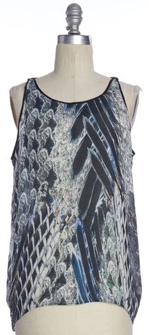 HELMUT LANG Blue Multi Color Abstract Print Silk Sleeveless Blouse Top Size 4