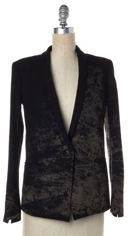 HELMUT LANG Black Brown Abstract Wool Single Button Blazer Size 2