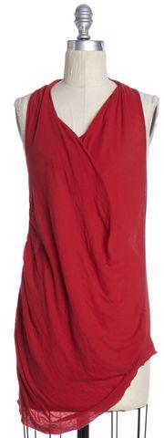 HELMUT LANG Red V-Neck Basic Knit Top Size S