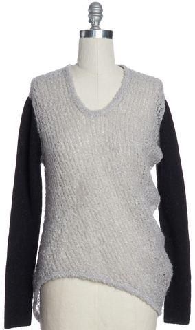 HELMUT LANG Gray Black Colorblock Alpaca Knit Scoop Neck Sweater Size L