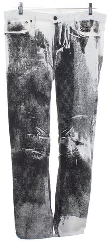 HELMUT LANG White Black Print Skinny Jeans Size 28