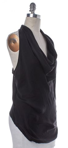 HELMUT LANG Black Sleeveless Ruched Top Size M