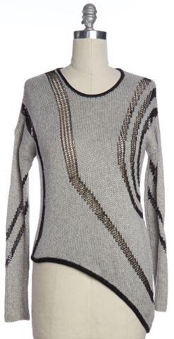 HELMUT LANG Gray Striped Open Knit Asymmetric Crewneck Sweater Size M