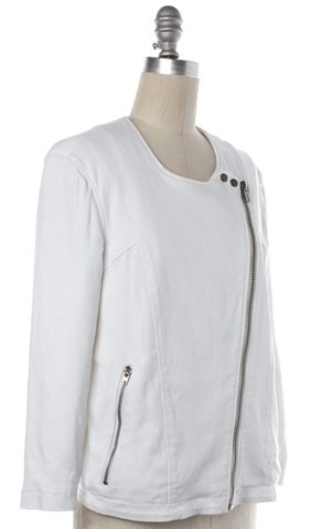 HELMUT LANG White Moto Style Jacket Size M