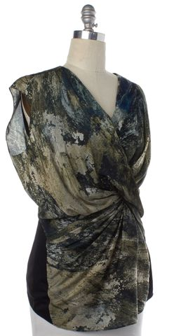 HELMUT LANG Green Abstract Silk Drape Sleeveless Blouse Size M