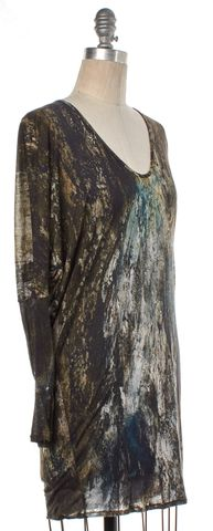 HELMUT LANG Army Green Multi Long Sleeve Abstract Top Size S