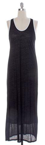 HELMUT LANG Black White Layered Jersey Maxi Dress Size M