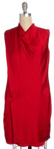 HELMUT LANG Red Silk Asymmetric Sleeveless Shift Dress Size 2