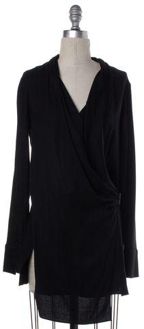HELMUT LANG Black Long Sleeve Wrap Top Size S