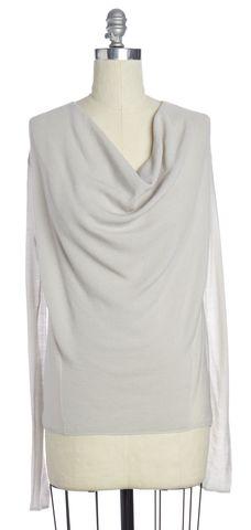 HELMUT LANG Gray Wool Long Sleeve Knit Top Size M