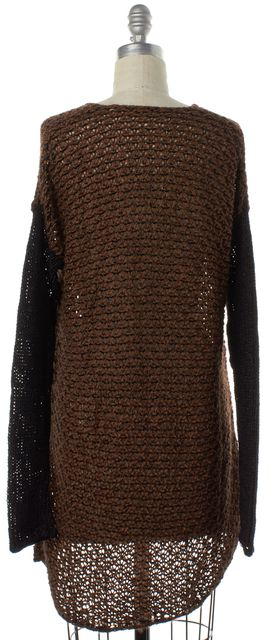 HELMUT LANG Brown Black Wool V-Neck Open Knit Relaxed Sweater M