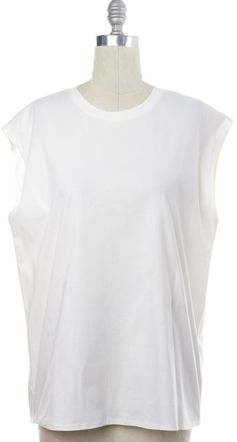HELMUT LANG White Sleeveless Blouse Top